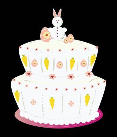 Paas taart met eieren en een geïsoleerd op een zwarte achtergrond bunny Stockfoto - 4634160