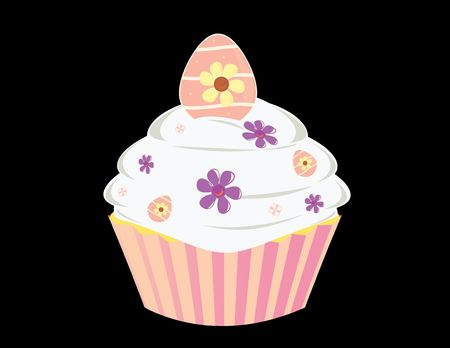 Egg cupcake isolated on a black background Stock Photo - 4634157