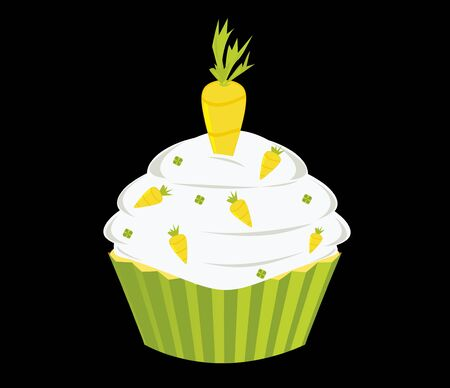 Wortel cupcake geïsoleerd op een zwarte achtergrond