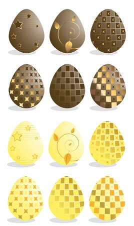 Easter eggs  in yellow and chocolate isolated on a white background