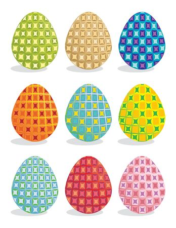 Easter eggs in bright pattern on a white background Imagens