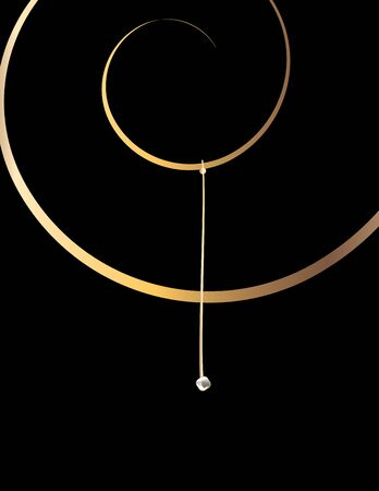 Gold spiral  design on a black background