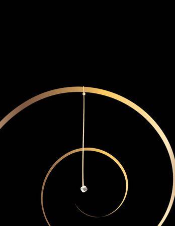 understated: Gold spiral design on a black background Stock Photo