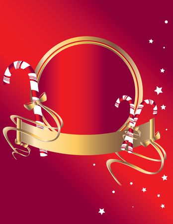Candy cane banner and frame on a red background with stars Stock Photo