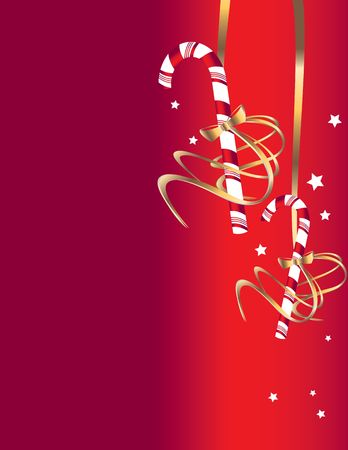 Candy cane hanging on a red background