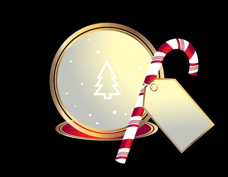 Candy cane and gift tag graphic isolated on a black background Stock Photo