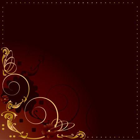 赤い背景の上のコーナーのデザインと抽象的なゴールド フレーム 写真素材