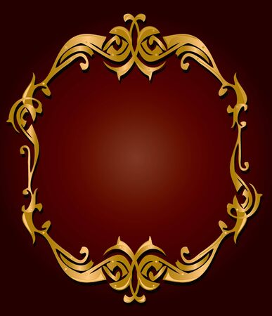 Gold frame on a red gradient background