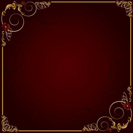 Delicado diseño marco oro sobre fondo rojo Foto de archivo - 4679342