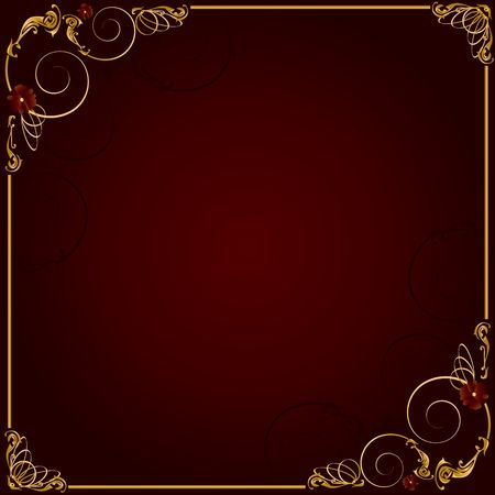 Delicate gold frame design on a red background Stok Fotoğraf - 4679342