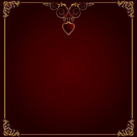 赤い背景の上の繊細なゴールド フレーム デザイン