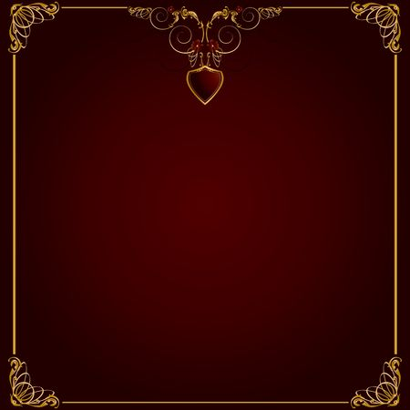 Delicate gold frame design on a red background