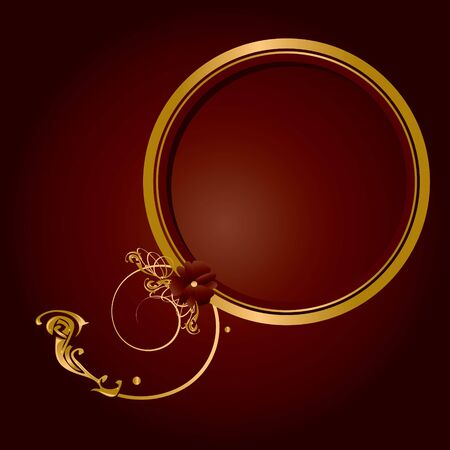 Circular gold frame with flourish on a warm red background