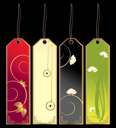 Four bookmark tags with strings isolated on a black background