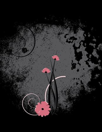 distressing: Pink flowers with black distressing on a  gray background
