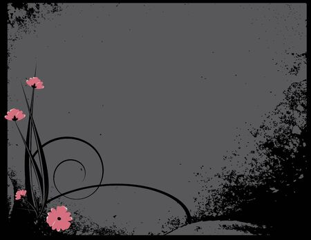Pink flowers with black distressing on a  gray background