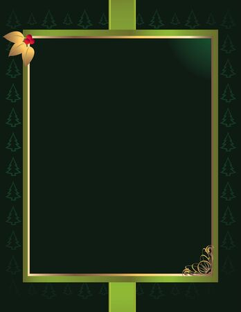 Rectangular green and gold frame with pine tree pattern background