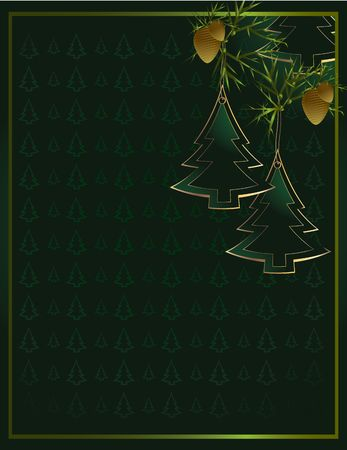 Pine tree ornaments and pine needles hanging on a green tree patterned background Stock Photo