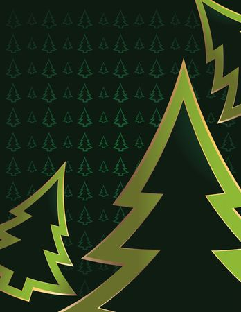 Bright green pine tree outlines cropped on a darker green pine tree patterned background  Stock Photo