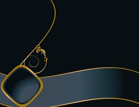 Elegant blue background with gold design and copy space