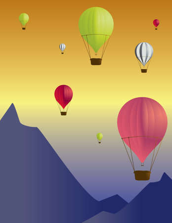 Hot air balloon scene with several colors of hot air balloons