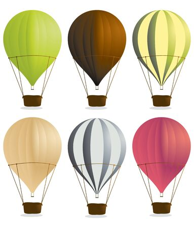 Hot air balloons isolated on a white background