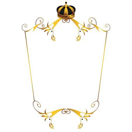 Gouden kroon op frame geïsoleerd op een witte achtergrond