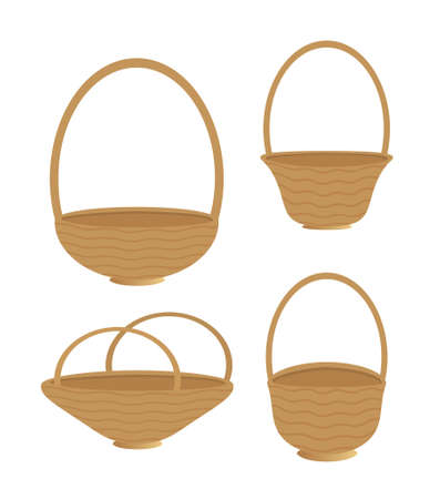 Baskets of four shapes isolated on a white background 版權商用圖片