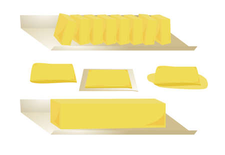 Four types of butter isolated on a white background Stock Photo