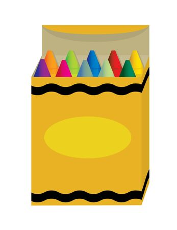 Box of crayons with two rows isolated on white