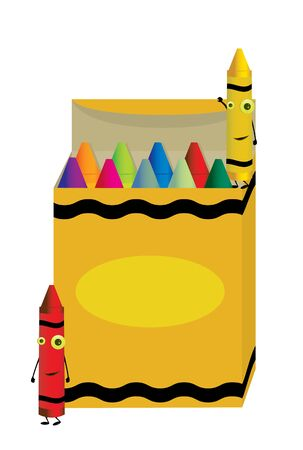 Crayons characters standing near and on an open box of crayons