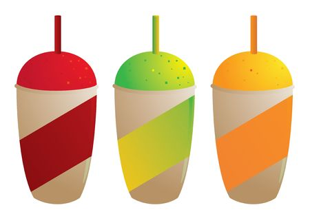 Brightly colored frozen drinks in disposable containers isolated on white