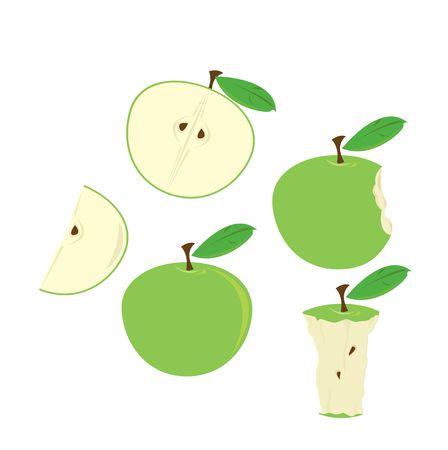 さまざまな状態の白で隔離の緑のリンゴ