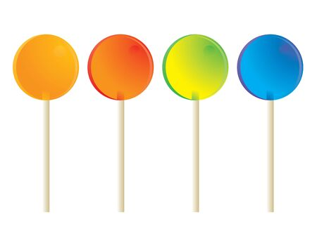 Circular lollipops with white sticks isolated on a white background
