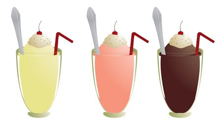 Milkshakes with topping straw and spoon isolated on white