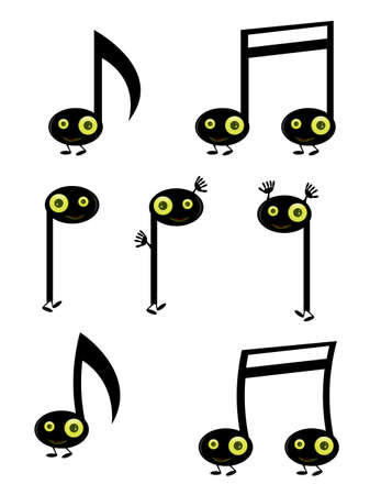 Musical note characters with green eyes isolated on white