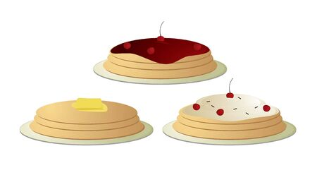 topped: Pancake stakes topped with butter and cherries isolated on a white background