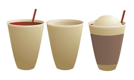 stirring: Disposable coffee cups empty and with stirring straw isolated on white