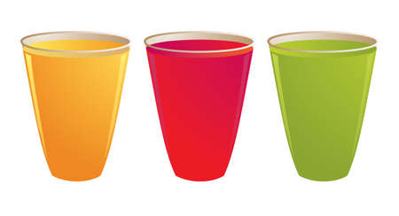 Drinks in plastic cups isolated on a white background Stock Photo