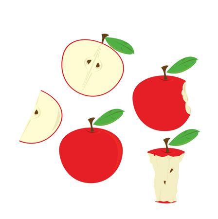 白で隔離される様々 な状態で赤いリンゴ 写真素材