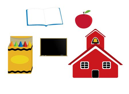 Schoolhouse apple crayons blackboard and open book isolated on a white background