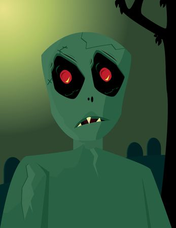 decaying: Green zombie staring forward in front of a graveyard background