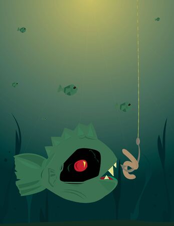 Scary green fish underwater looking at worm on hook