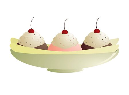 topped: Banana split with three ice cream scoops topped with cherries, whipped cream, and sprinkles in a long bowl