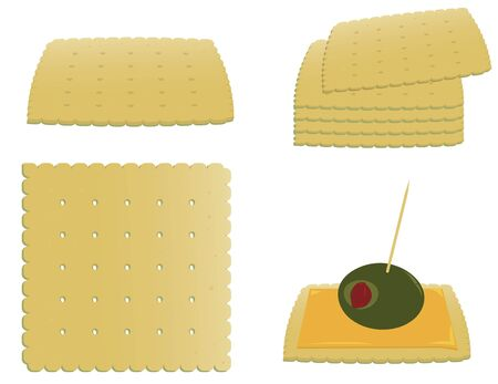 Crackers alone, stacked, and as an appetizer isolated on white
