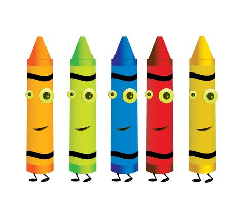 Smiling crayons in five colors isolated on a white background Stock Photo - 5162054