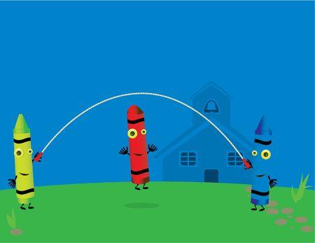 school house: Tres l�pices de colores jugando sonriente cuerda de saltar fuera, en frente de una casa de la escuela