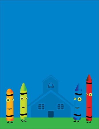 Four smiling crayons standing outside in front of a school house with blank room for copy Stock Photo - 5162042