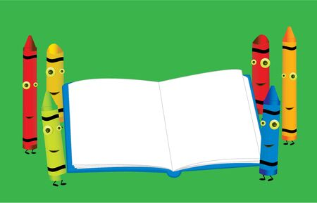 Six smiling crayons standing around an open blank book on top of a green background photo