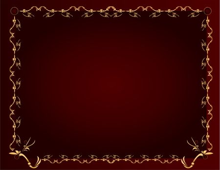 Gold abstract design on a burgundy background with space for copy Stock Photo - 5162057